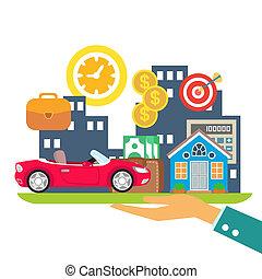 crédit, louer, hypothèque