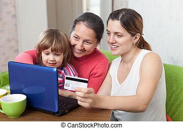crédit, payant, générations, carte, internet, famille, ordinateur portable, trois, magasin
