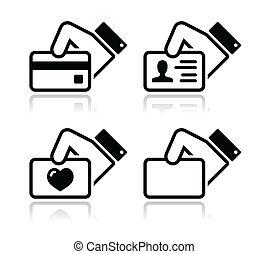crédit, possession main, carte, icônes