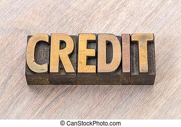 crédit, résumé, bois, mot, type