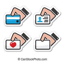 crédit, tenue, carte affaires, main
