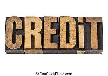 crédit, type, bois, mot