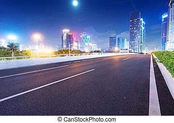 crépuscule, guangdong, rue, porcelaine, pistes, lumière