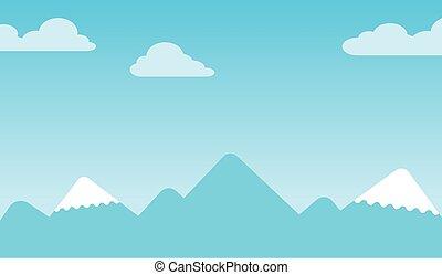 crêtes, montagne, fond, neige-couvert