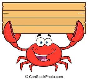 crabe, bois, caractère, signe, tenue, vide, mascotte, dessin animé, heureux