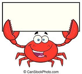 crabe, caractère, signe, tenue, vide, mascotte, dessin animé, heureux