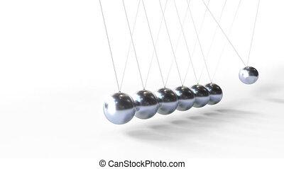 cradle., métal, apparenté, sphères, animation, loopable, oscillation, newton's, physique, 3d