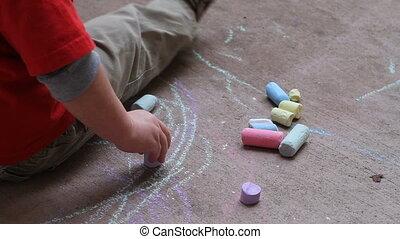 craie, dessin trottoir, enfant