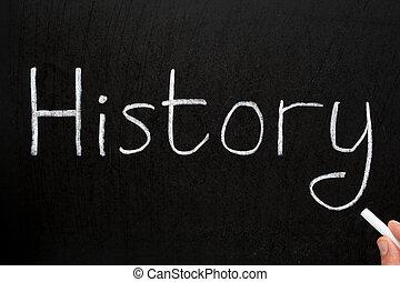 craie, histoire, écrit, blackboard., blanc