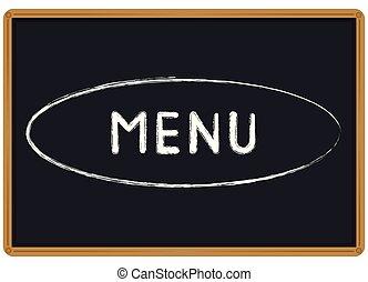 craie, menu, mot écrit, tableau noir