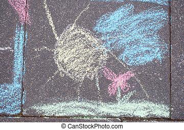 craie, painting(s), trottoir