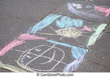 craie, trottoir, painting(s)