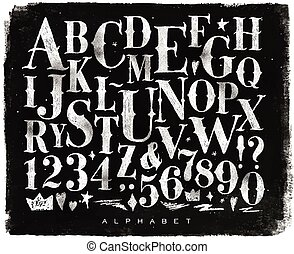 craie, vendange, gothique, alphabet
