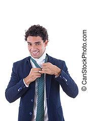cravate, attaché, homme