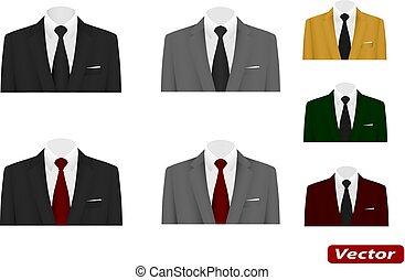 cravate, complet, vecteur, mariage