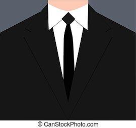 cravate, costume noir