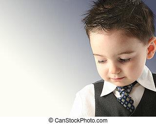 cravate, enfant, complet, garçon
