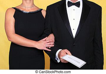 cravate, robe soir, invitation, noir