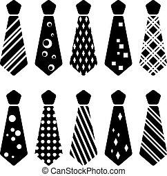 cravate, silhouettes, vecteur, noir