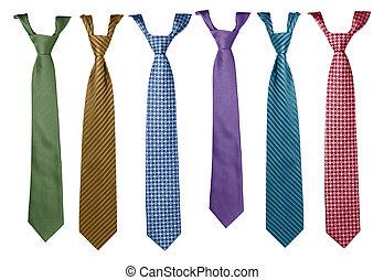 cravates, coloré, collection