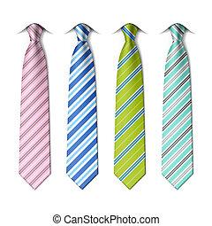 cravates, rayé, soie
