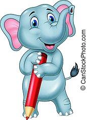 crayon, éléphant, dessin animé, rouges, tenue