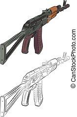 crayon, 47, ak, contour, fusil assaut, dessin