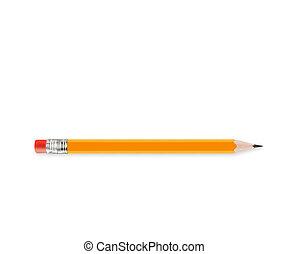 crayon, aiguisé, jaune