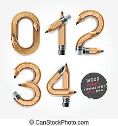 crayon, alphabet, bois, style., nombres