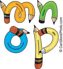 crayon, alphabet