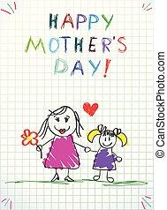 crayon, amour, coloré, dessins, maman, vous, enfants