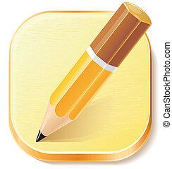 crayon, avion, icône, textured