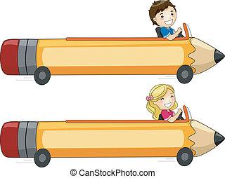 crayon, bannière, voiture