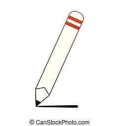 crayon bois, lignes, dessin animé, rouges