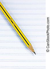 crayon, cahier, jaune