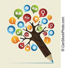 crayon, concept, études, arbre, recherche