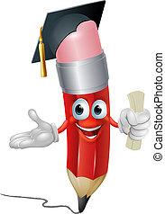 crayon, concept, education, diplômé