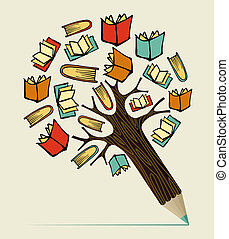 crayon, concept, education, lecture, arbre