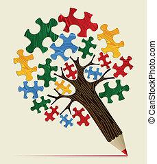 crayon, concept, puzzle, arbre, stratégique
