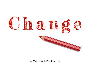 crayon, croquis, changement, rouges