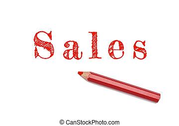 crayon, croquis, ventes, rouges