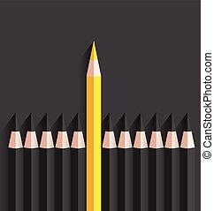 crayon, debout, jaune, dehors