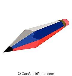crayon, drapeau, russie