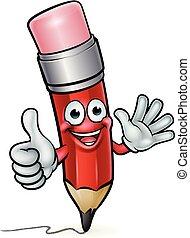 crayon, education, dessin animé, mascotte