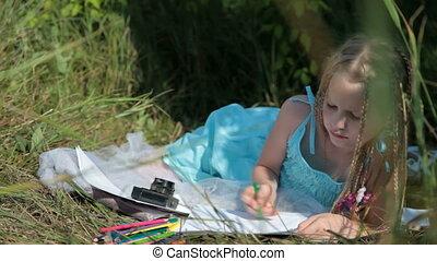 crayon, enfant, coloré, dessin