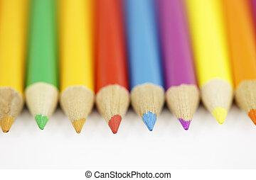 crayon, ensemble, coloré