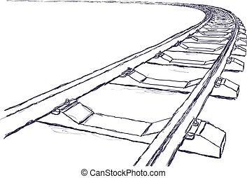 crayon, ferroviaire, forward., style, aller, hand-drawn, vecteur, illustration, 3d, white.