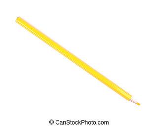 crayon, fond blanc, jaune
