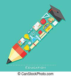 crayon, forme, education, icône