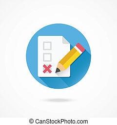 crayon, formulaire, marque, vecteur, x, icône